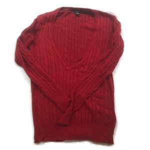 GAP Cable Knit Pullover Sweater Red Angora Blend